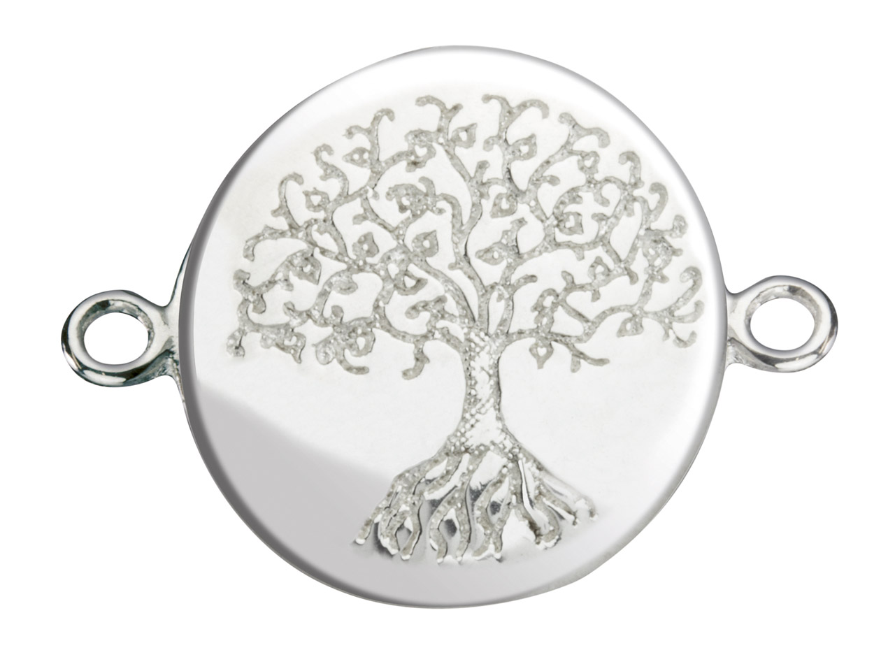 Sterling Silver Connector Tree Of  Life Etched Disc 15mm Pack of 5