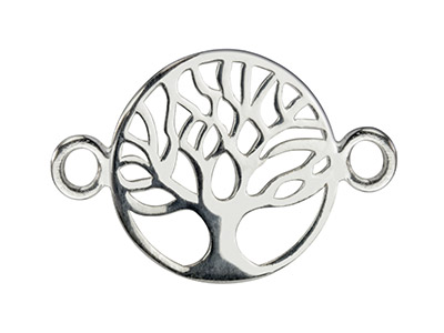 Sterling Silver Connector Tree Of  Life Classic Filigree 18mm         Pack of 5
