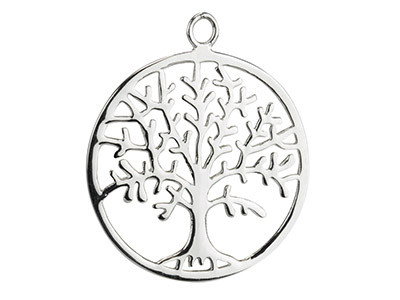 Sterling Silver Tree Of Life Fancy Drop 25mm Pack of 5