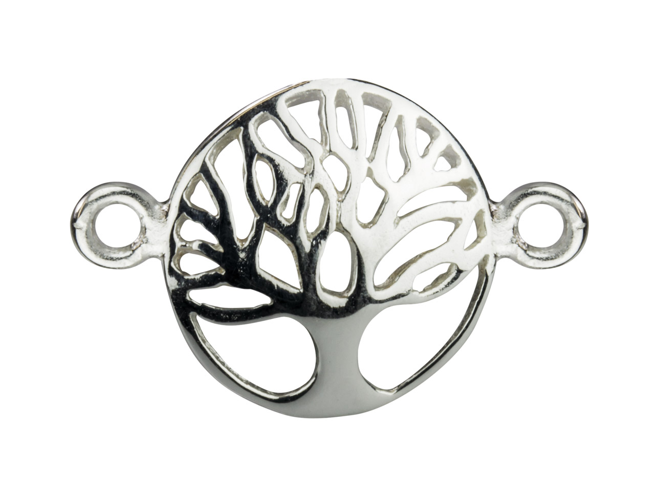 Sterling Silver Connector Tree Of  Life Domed 12mm Pack of 5