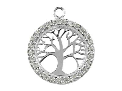 Sterling Silver Tree Of Life       Cubic Zirconia Channel Set 18mm