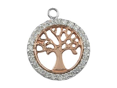 Sterling Silver Tree Of Life       Cubic Zirconia Channel Set Rose    Plate 18mm