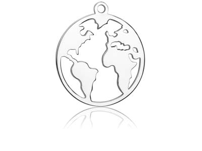 Sterling Silver World Map 15mm