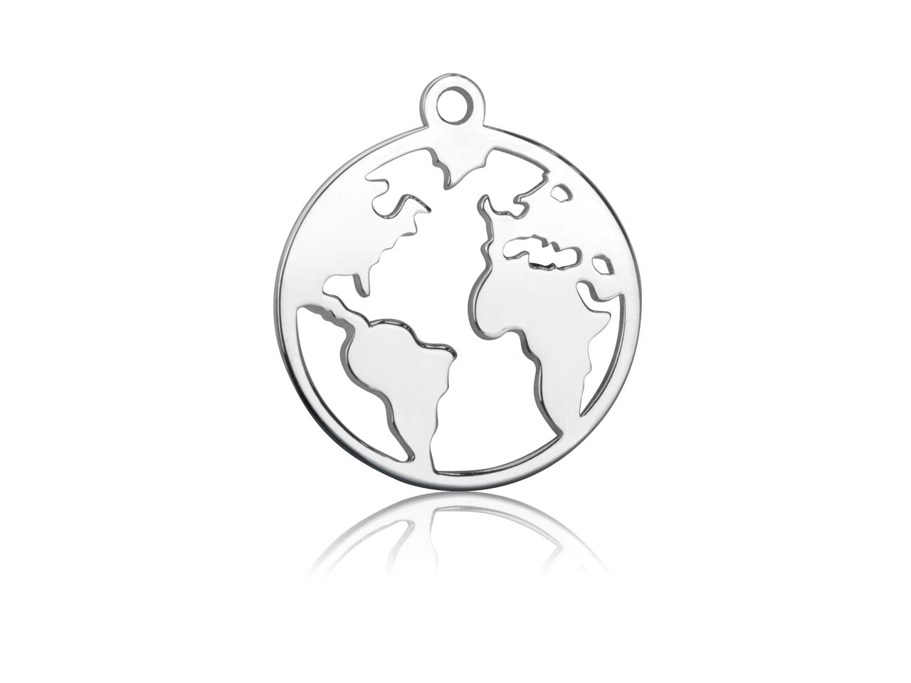 Sterling Silver World Map 20mm