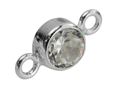 Sterling Silver Connector 5mm,     Bezel Set Cubic Zirconia