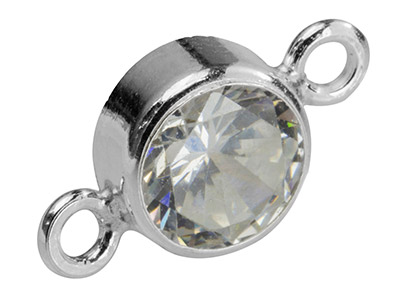 Sterling Silver Connector 6mm,     Bezel Set Cubic Zirconia