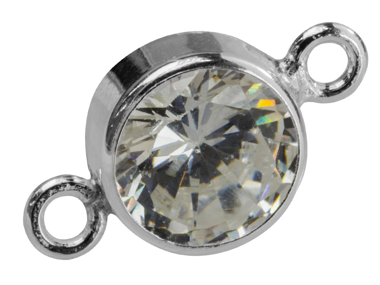 Sterling Silver Connector 7mm,     Bezel Set Cubic Zirconia