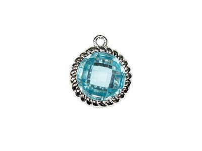 Sterling Silver Twisted Round Drop Aqua Cubic Zirconia 8mm