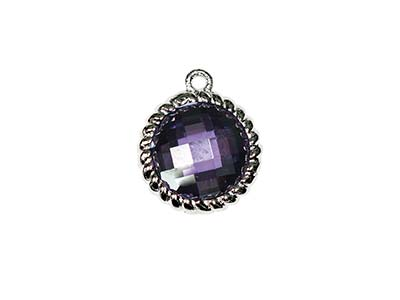 Sterling Silver Twisted Round Drop Amethyst Cubic Zirconia 8mm