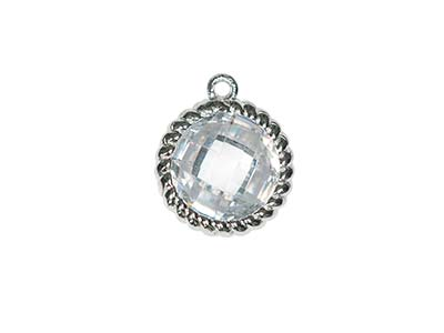 Sterling Silver Twisted Round Drop White Cubic Zirconia 8mm