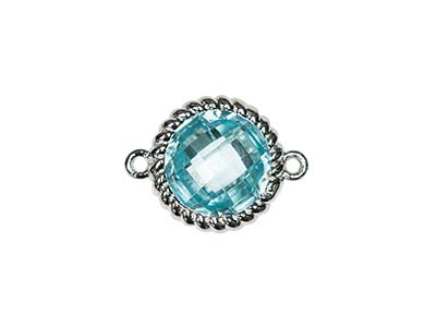 Sterling Silver Twisted Round      Connector Aqua Cubic Zirconia 8mm