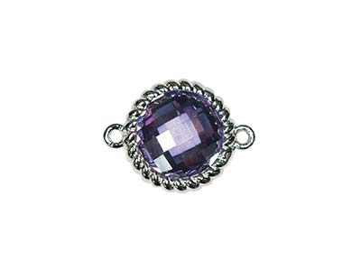 Sterling Silver Twisted Round      Connector Amethyst Cubic Zirconia  8mm