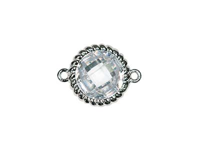 Sterling Silver Twisted Round      Connector White Cubic Zirconia 8mm