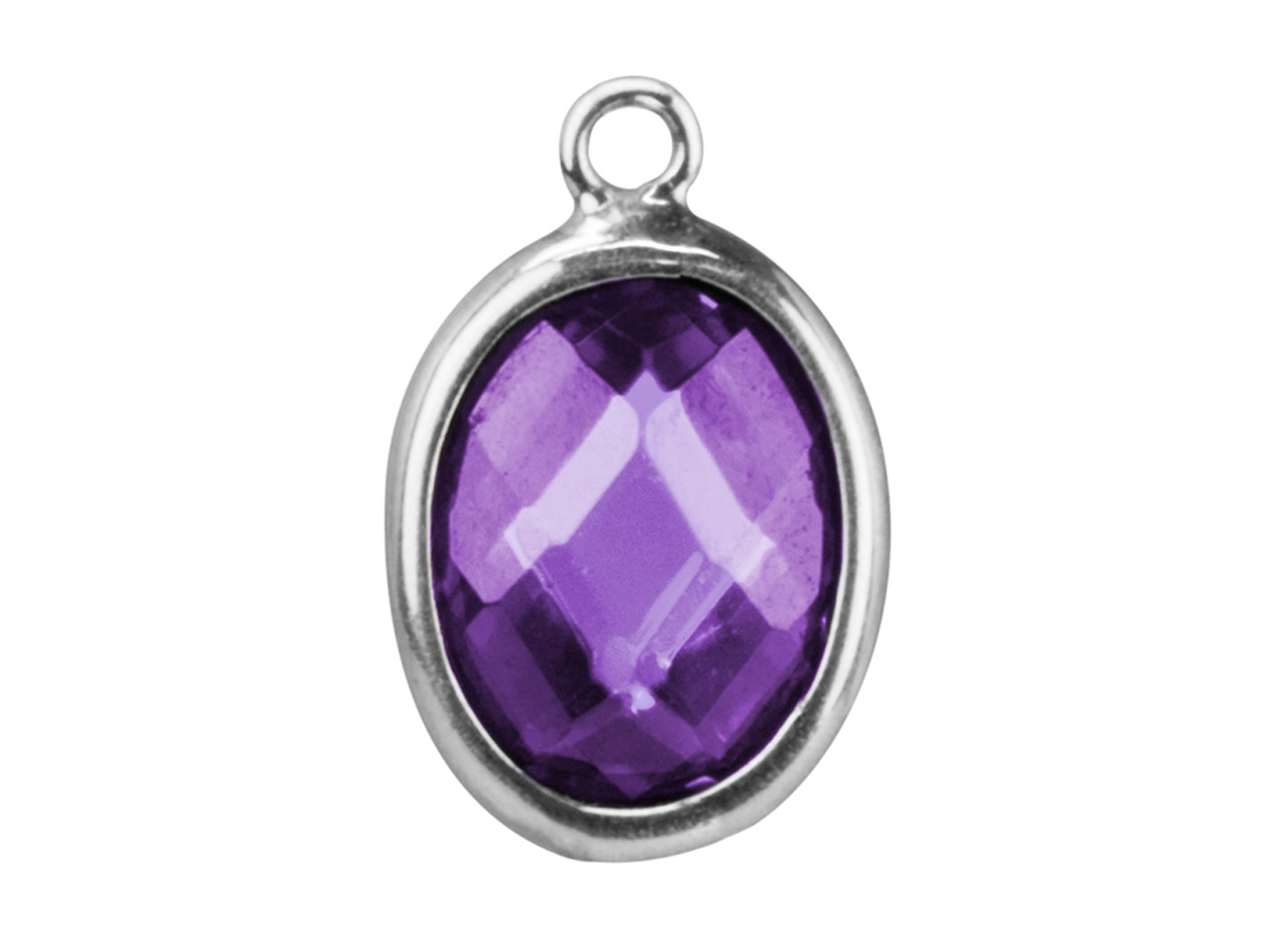 Sterling Silver Oval Drop With     Amethyst Colour Cubic Zirconia     10x8mm