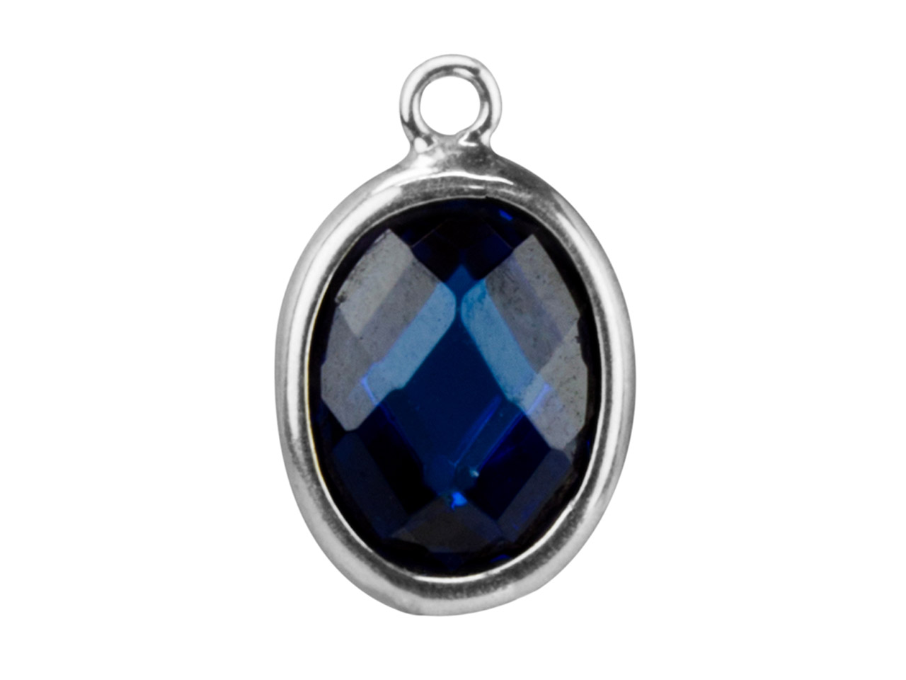 Sterling Silver Oval Drop With     Swiss Blue Cubic Zirconia 1 Flat   Loop 10x8mm