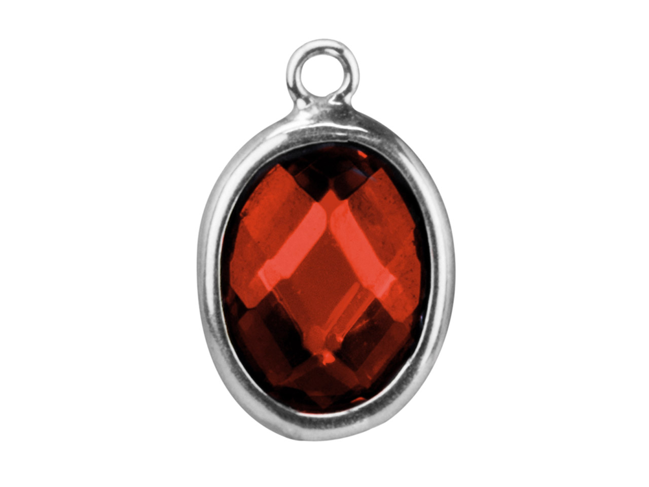 Sterling Silver Oval Drop With      Garnet Colour Cubic Zirconia 1 Flat Loop 10x8mm