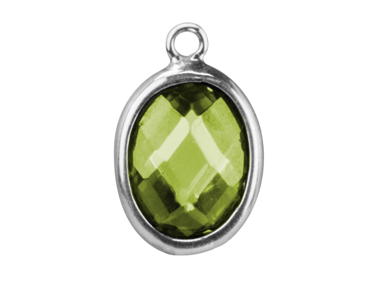 Sterling Silver Oval Drop With     Peridot Colour Cubic Zirconia      10x8mm