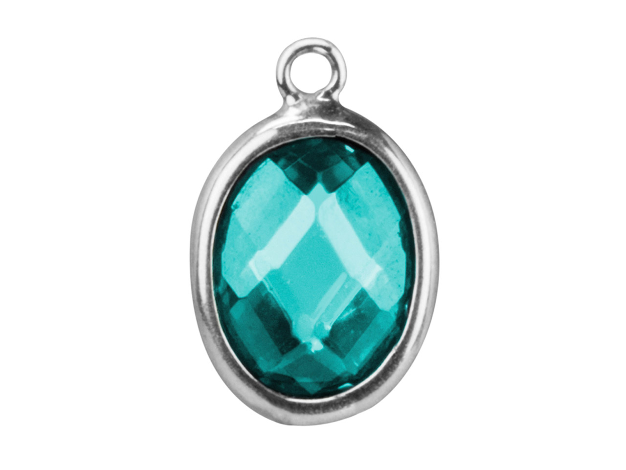 Sterling Silver Oval Drop With Aqua Colour Cubic Zirconia 1 Flat Loop   10x8mm