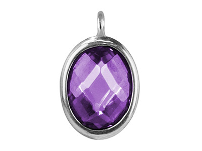 Sterling Silver Oval Drop With     Amethyst Colour Cubic Zirconia 1   Angled Loop 10x8mm