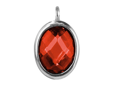 Sterling Silver Oval Drop With     Garnet Colour Cubic Zirconia 1     Angled Loop 10x8mm