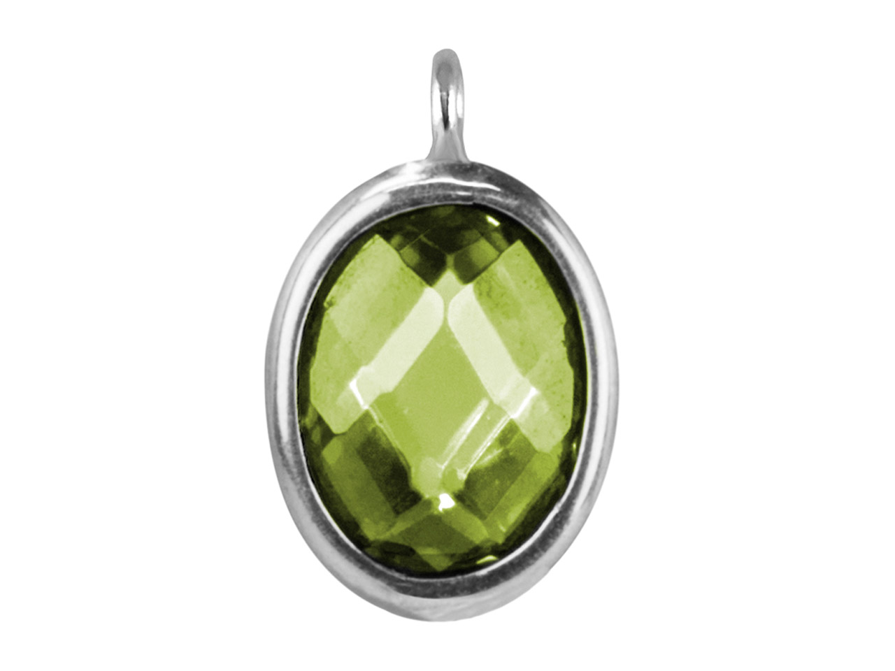 Sterling Silver Oval Drop With     Peridot Colour Cubic Zirconia 1    Angled Loop 10x8mm