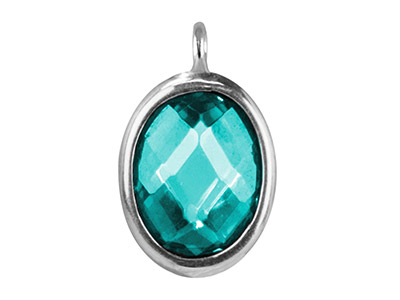 Sterling Silver Oval Drop With Aqua Colour Cubic Zirconia 1 Angled Loop 10x8mm