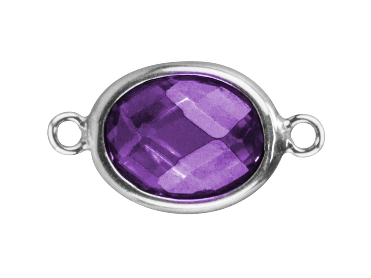 Sterling Silver Oval Connector With Amethyst Colour Cubic Zirconia 2    Aligned Loops 10x8mm