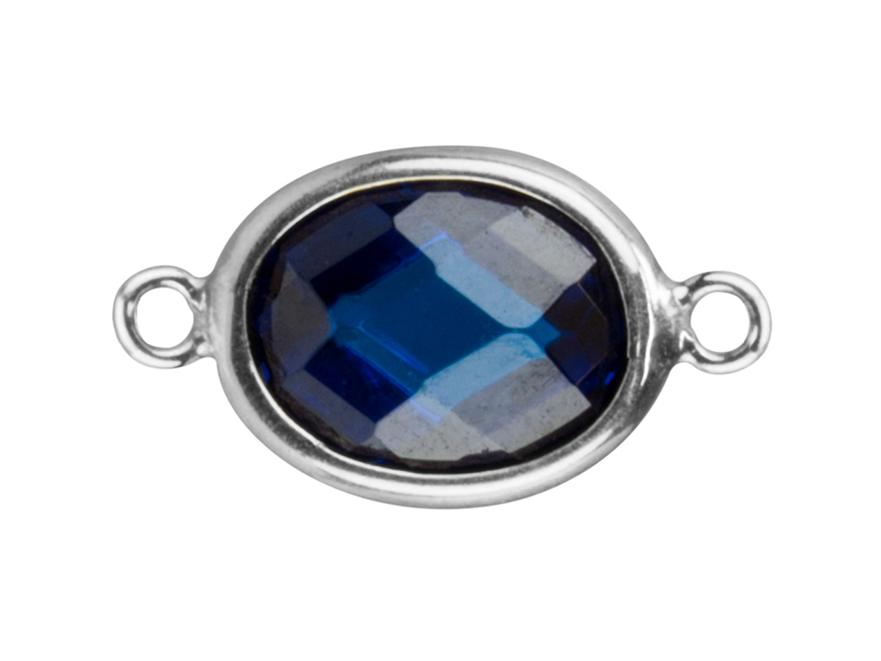 Sterling Silver Oval Connector With Swiss Blue Cubic Zirconia 2 Aligned Loops 10x8mm