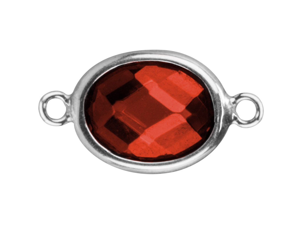 Sterling Silver Oval Connector With Garnet Colour Cubic Zirconia 2      Aligned Loops 10x8mm