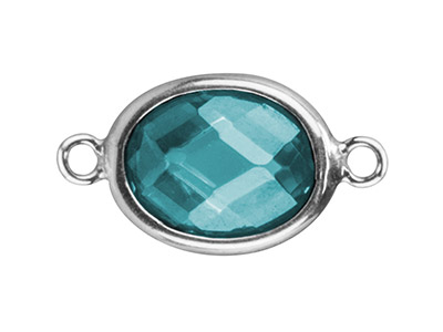 Sterling Silver Oval Connector With Aqua Cubic Zirconia 10x8mm