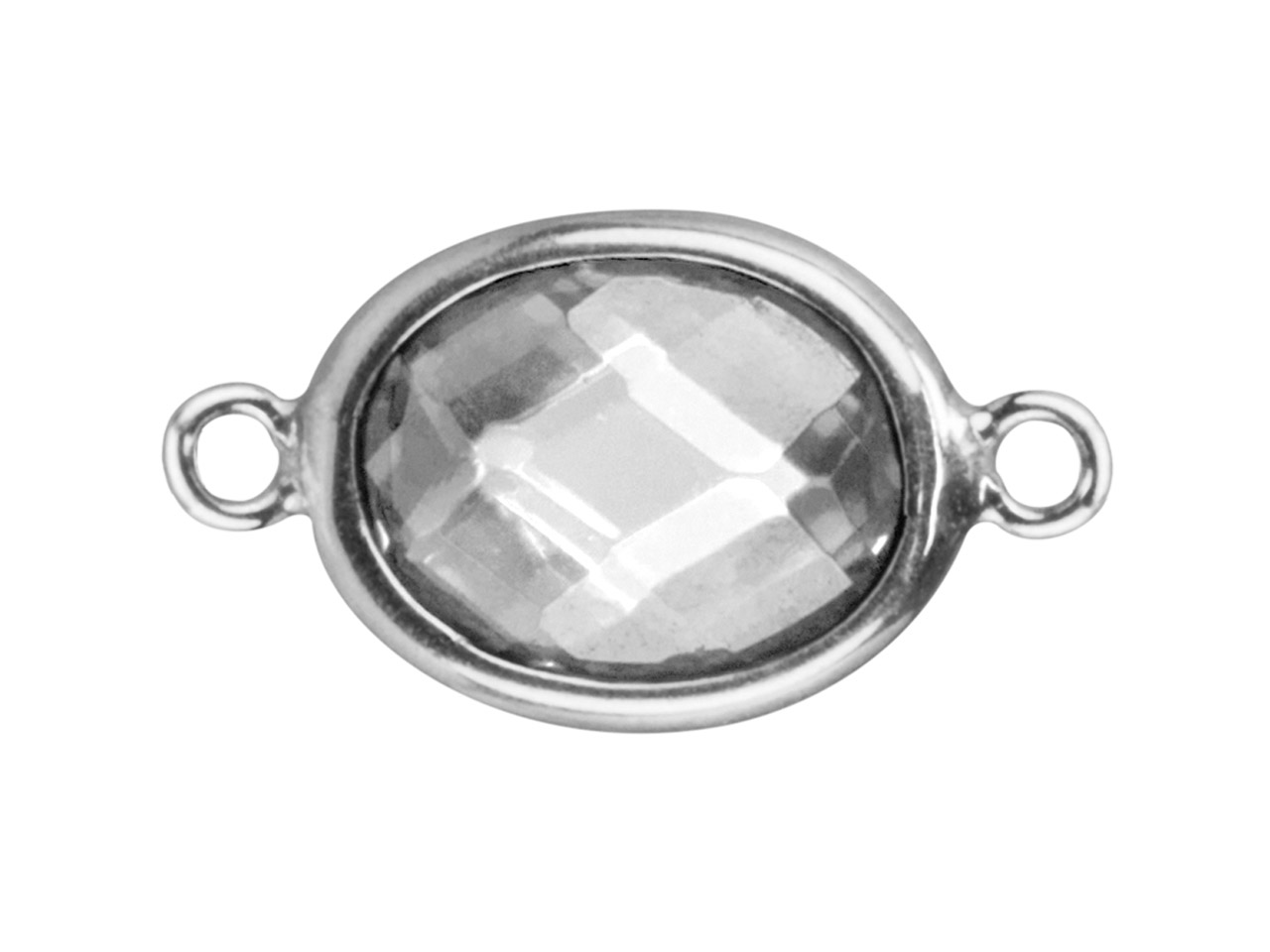Sterling Silver Oval Connector With White Cubic Zirconia 2 Aligned      Loops 10x8mm
