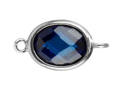 Sterling Silver Oval Connector With Swiss Blue Cubic Zirconia 2 Opposed Angled Loops 10x8mm
