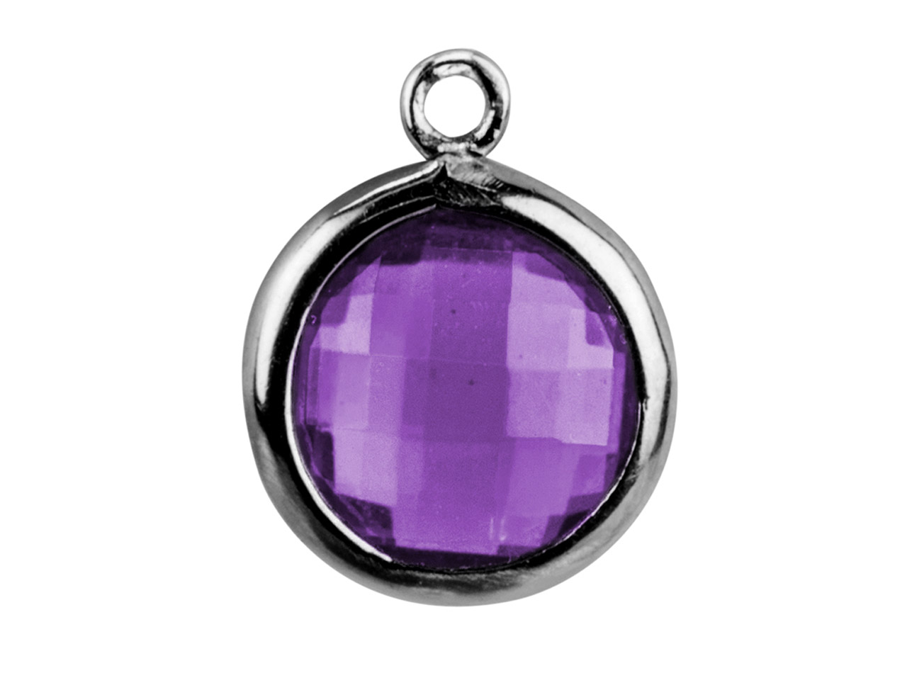 Sterling Silver Round Drop With    Amethyst Colour Cubic Zirconia 1   Flat Loop 8mm