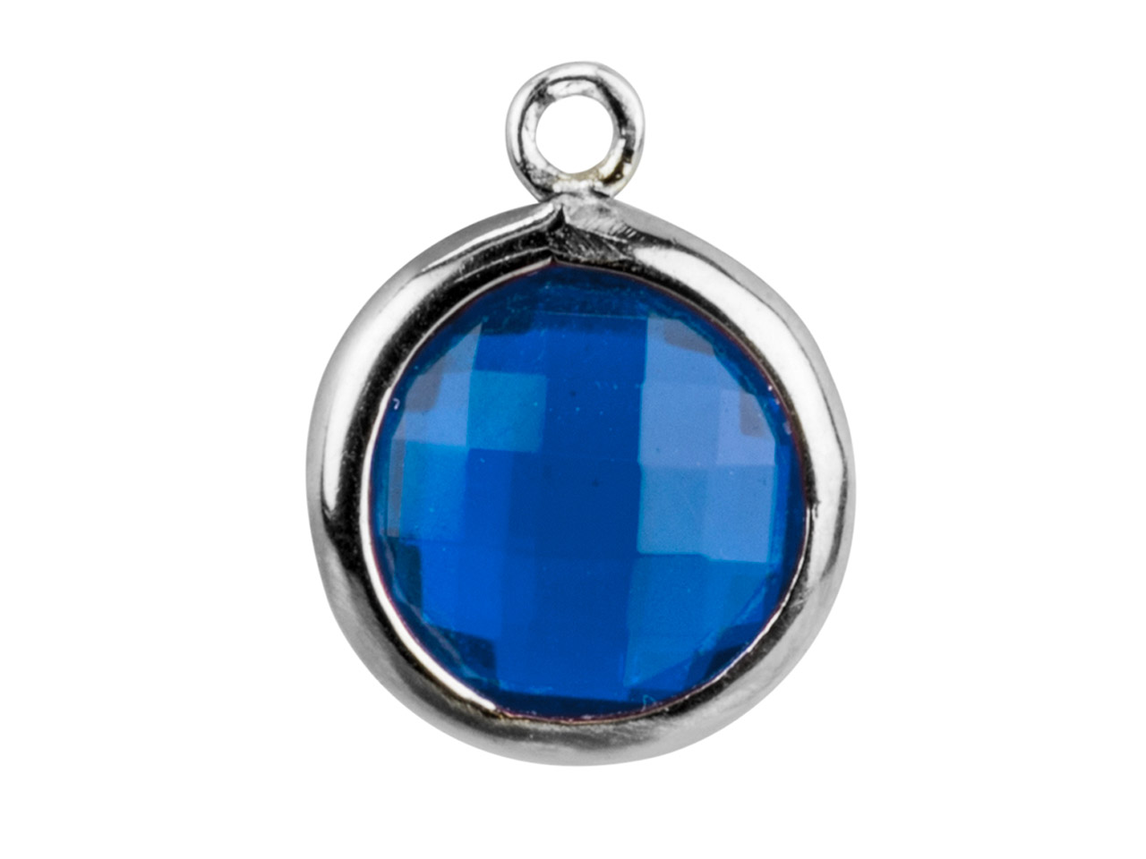 Sterling Silver Round Drop With    Swiss Blue Cubic Zirconia 8mm