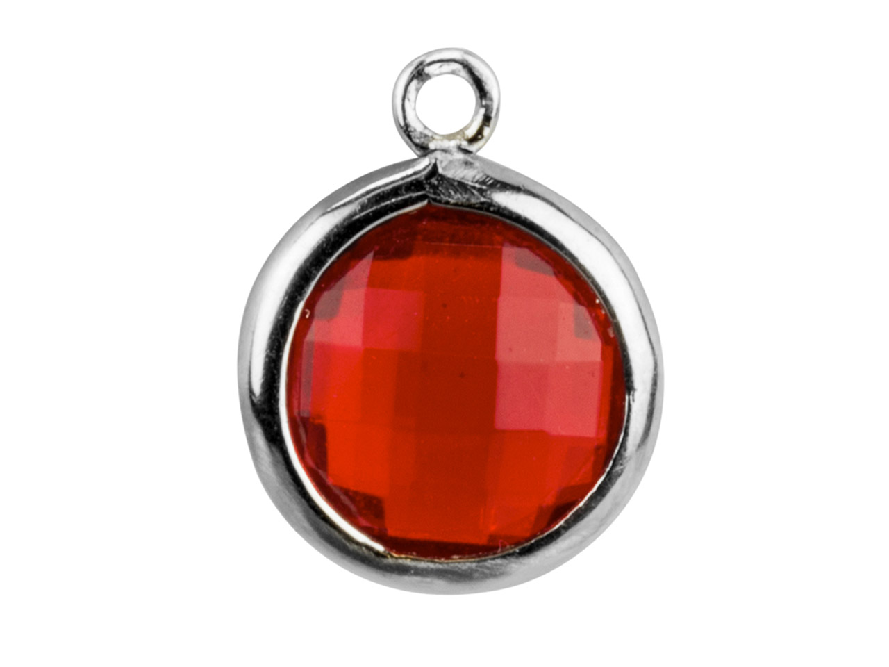 Sterling Silver Round Drop With    Garnet Colour Cubic Zirconia , 8mm