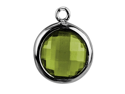 Sterling Silver Round Drop With     Peridot Colour Cubic Zirconia , 8mm