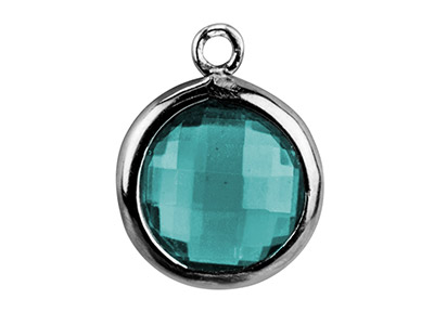 Sterling Silver Round Drop With    Aqua Cubic Zirconia , 8mm