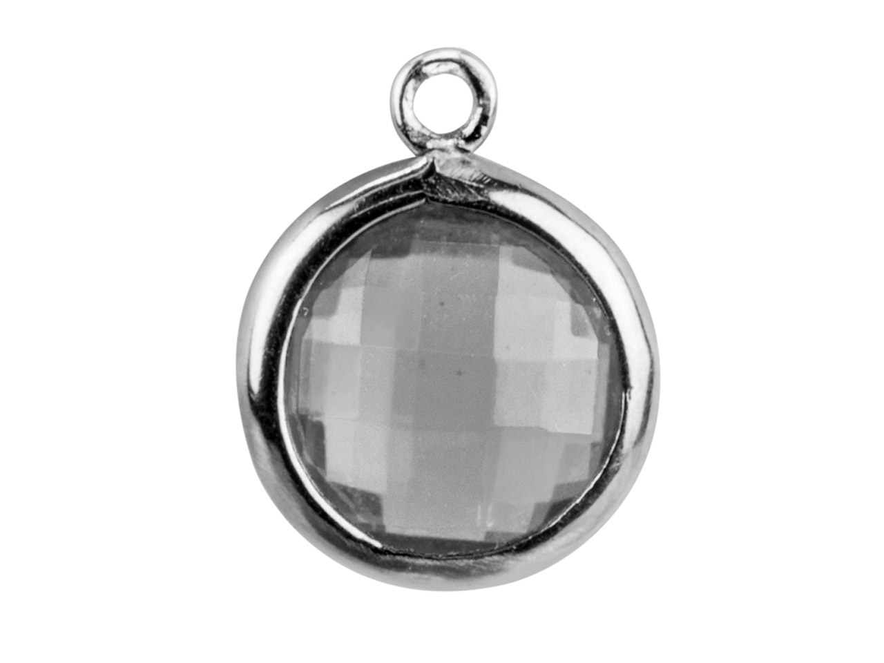 Sterling Silver Round Drop With    White Cz, 8mm