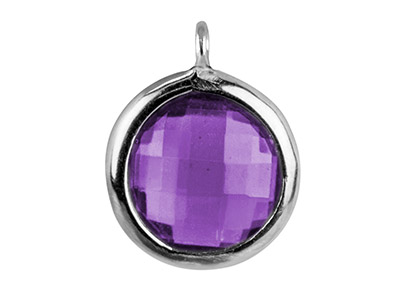 Sterling Silver Round Drop With    Amethyst Colour Cubic Zirconia 1   Angled Loop 8mm