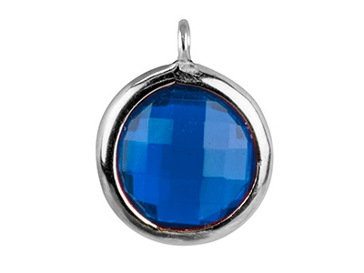 Sterling Silver Round Drop With    Swiss Blue Cubic Zirconia 1 Angled Loop 8mm