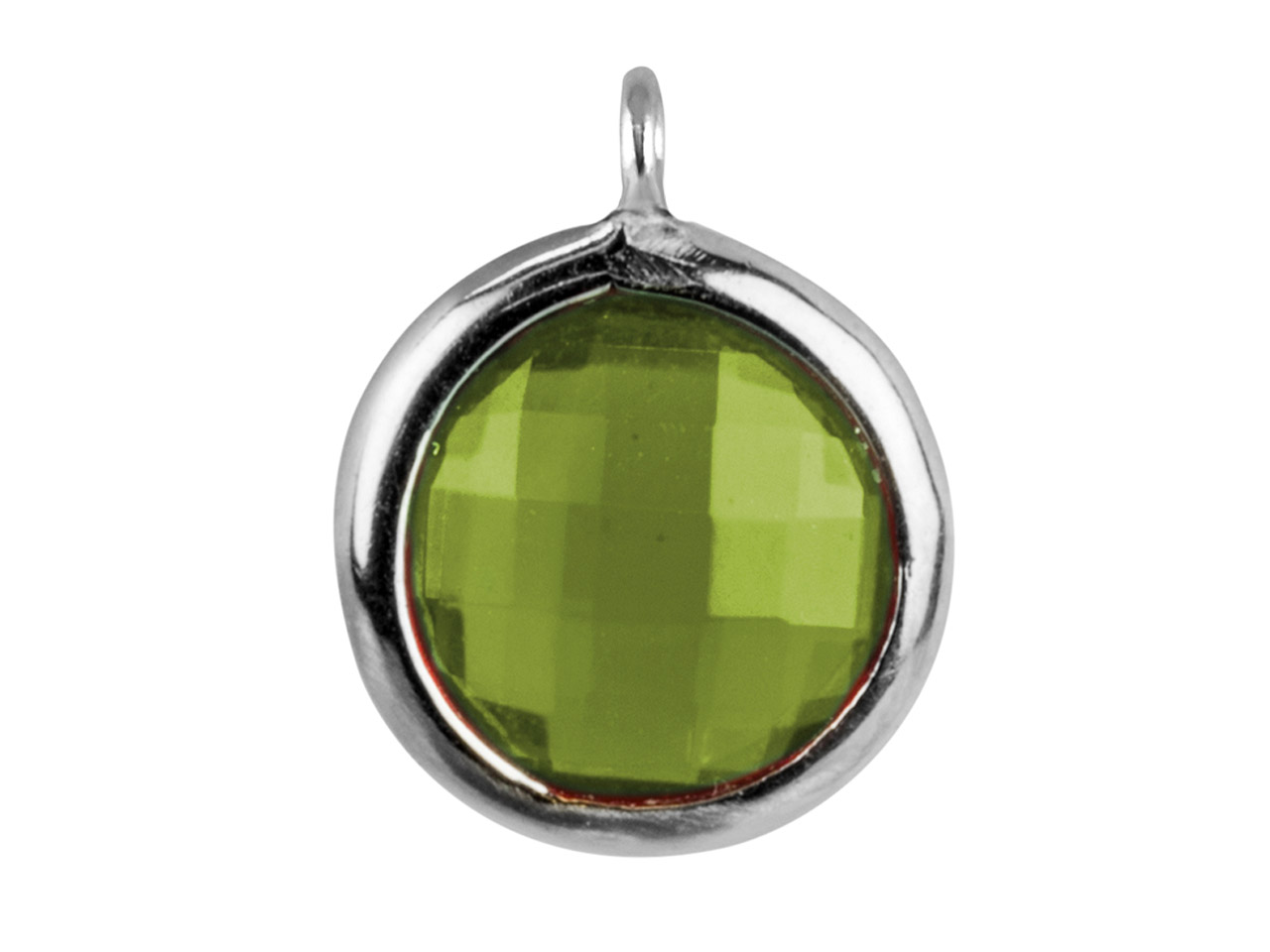 Sterling Silver Round Drop With    Peridot Colour Cubic Zirconia 1    Angled Loop 8mm