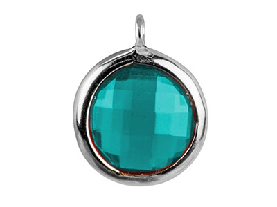 Sterling Silver Round Drop With     Aqua Colour Cubic Zirconia 1 Angled Loop 8mm