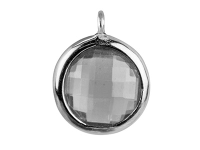 Sterling Silver Round Drop With    White Cubic Zirconia 1 Angled Loop 8mm