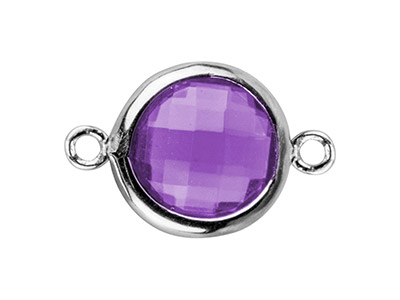 Sterling Silver Round Connector    With Amethyst Colour               Cubic Zirconia, 8mm