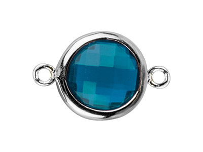 Sterling Silver Round Connector    With Swiss Blue Cubic Zirconia 8mm