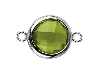 Sterling Silver Round Connector    With Peridot Colour Cubic Zirconia , 8mm