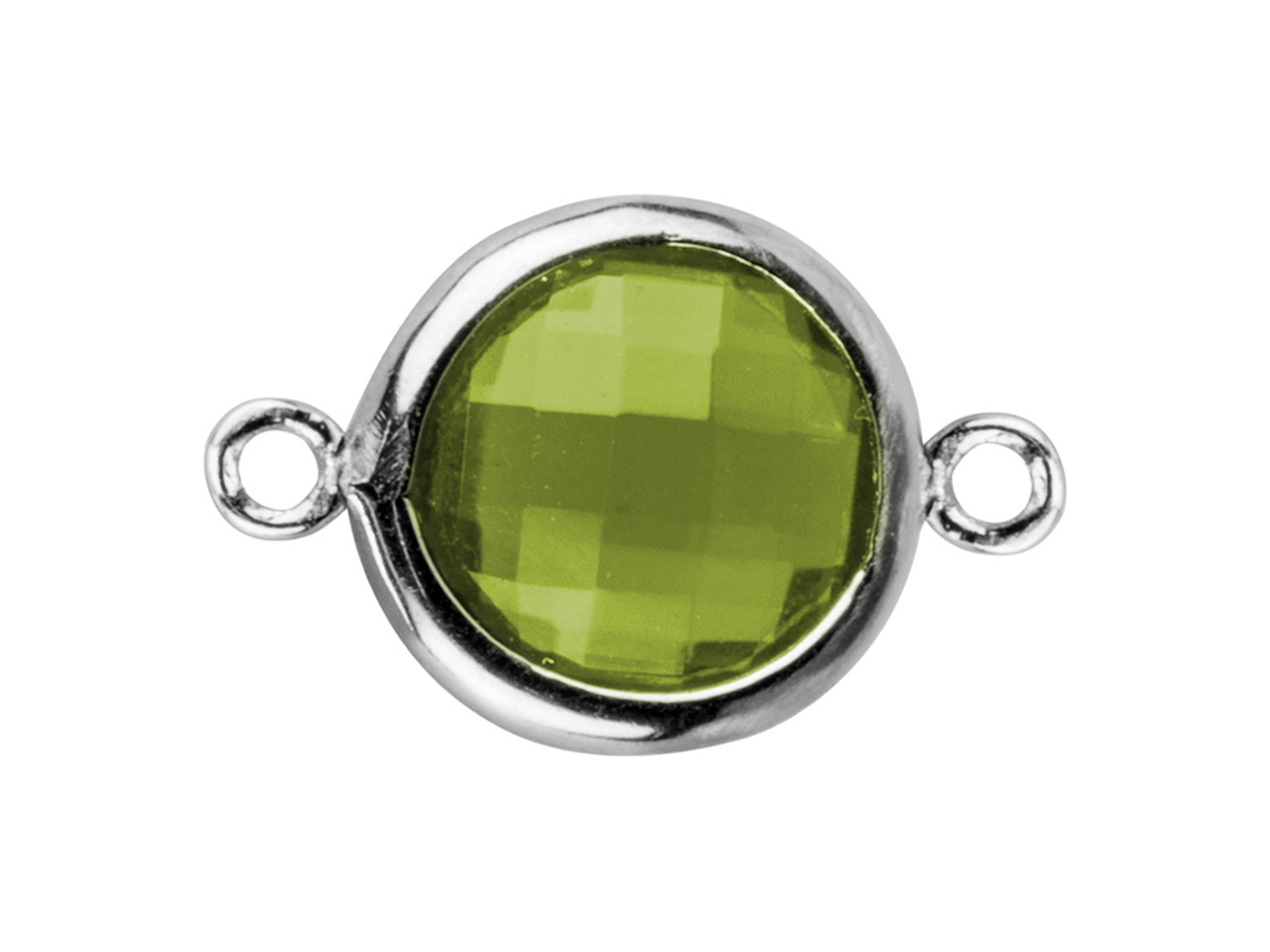 Sterling Silver Round Connector    With Peridot Colour Cubic Zirconia 2 Aligned Loops 8mm