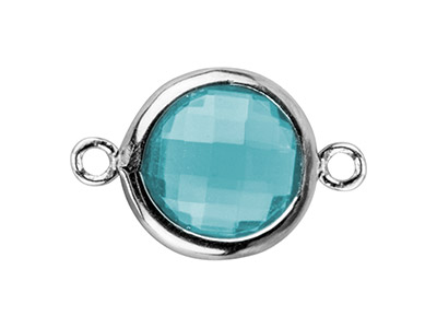 Sterling Silver Round Connector    With Aqua Cz, 8mm
