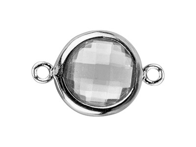 Sterling Silver Round Connector    With White Cubic Zirconia, 8mm