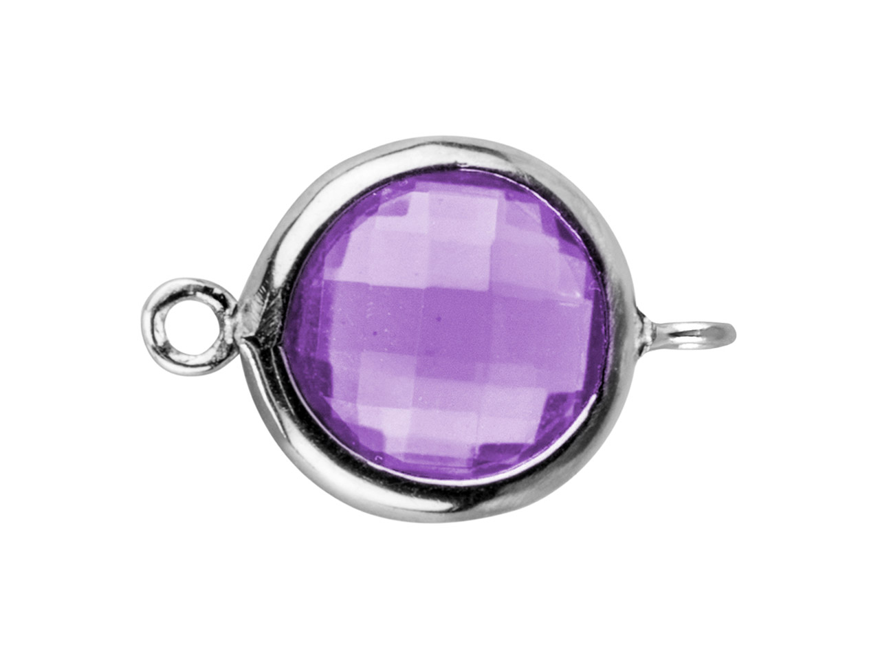 Sterling Silver Round Connector     With Amethyst Colour Cubic Zirconia 2 Opposed Angled Loops 8mm